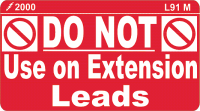 L091 M Do Not Use on Ext Leads 90x50mm (100)