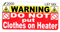 L087 MX - Do Not put Clothes on Heater