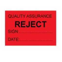 Quality Assurance Reject Labels - Self Laminating