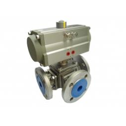 Haitima Double Acting PN16 3 Way T Port Stainless Steel Ball Valve